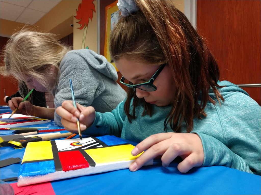Kids channeled Piet Mondrian for the first meeting of our Masterpieces at Main art club.