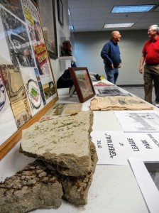 The authors brought artifacts with them, including a piece of League Park's Great Wall.