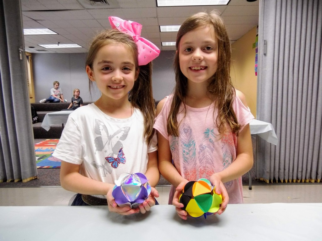 The young artists in our Masterpieces club made colorful spheres from construction paper.