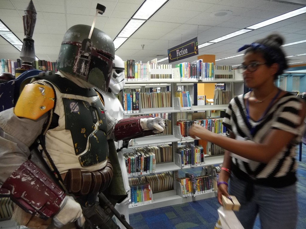 Boba Fett was atypically convivial with the padawans at our Lock In.