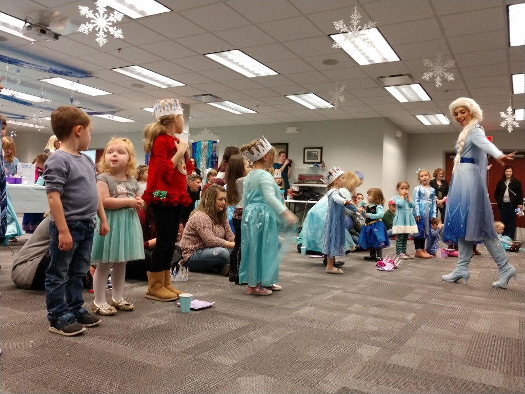 "Elsa leads the kids in a sing-along of (what else?) ""Let It Go"" during our Frozen Frenzy program."