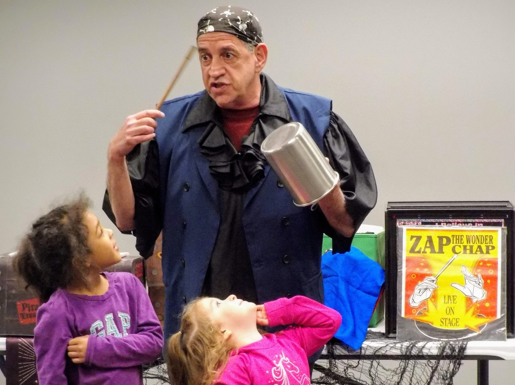Zap the Magical Pirate shows kids the magic of reading during the kickoff for Mentor Schools Foundation's Read-A-Thon.
