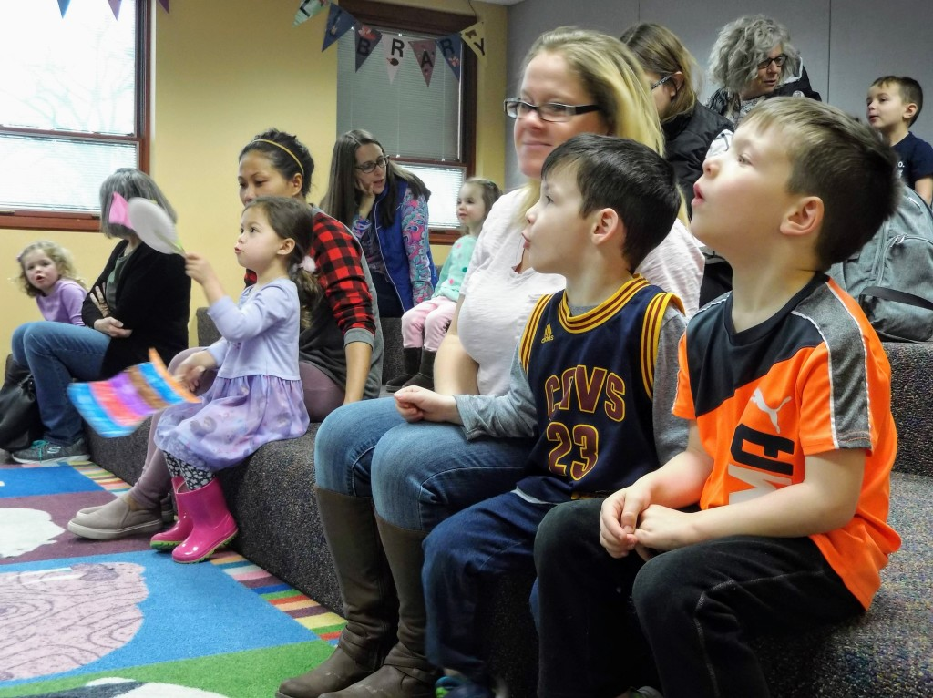 Kids moo along with Mr. Brown during a special Seuss-themed story time at Mentor Public Library.
