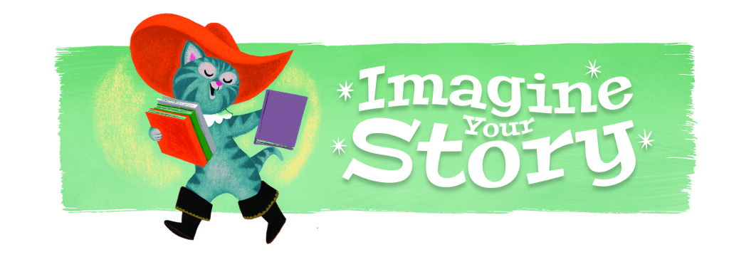 Puss in Boots wears a bright red hat and carries two books alongside the summer reading title, Imagine Your Story