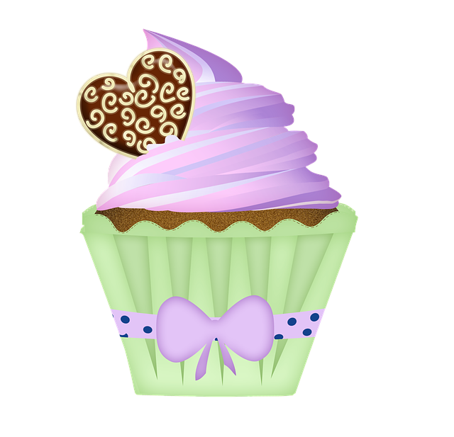 Cupcake decorated with hearts and a bow