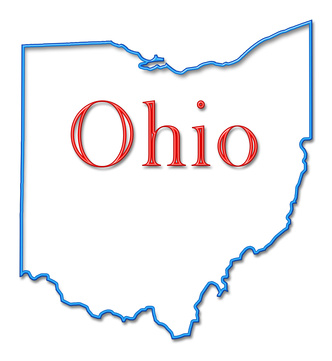 The state of Ohio outlined in blue and red