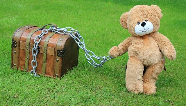 Teddy Bear with a chest locked in chains.