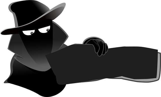 Silhouette of a spy with a package in his hand.
