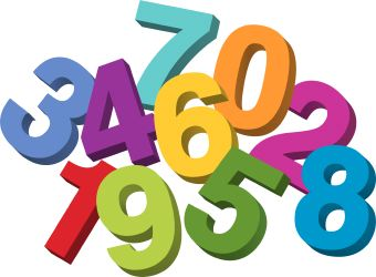 The numbers 0 - 9 in varying colors all scattered in a pile.