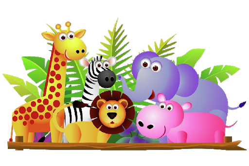 A group of Zoo animals including a giraffe, zebra, lion, elephant and hippo stand in front of some jungle leaves.